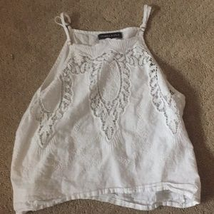 cropped white lace top